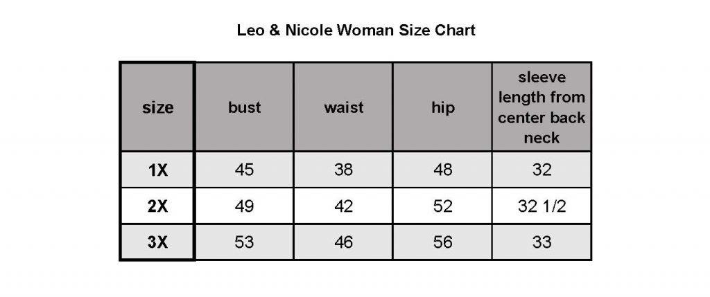 Size chart for Leo & Nicole Plus size clothing